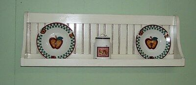 Bowl Rack Plate Shelf Distressed Country Wall Hanging Plate Rack Antiqeud White