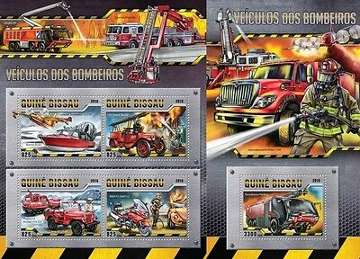 Z08 Imperforated gb16308ab GUINEA-BISSAU 2016 Fire Engines MNH Set