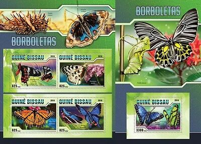 Z08 Imperforated GB16306ab GUINEA-BISSAU 2016 Butterflies MNH Set