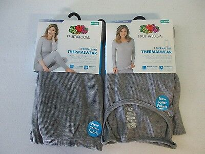 Fruit of the Loom Women's Gray Waffle Thermal Pair of Top & Bottoms NEW []