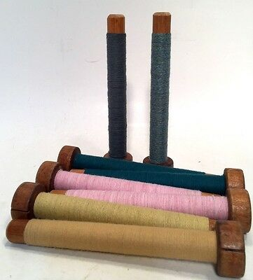 Threaded Textile Bobbins~Spools~Spindles~Quills Vintage Primitive Wood Lot of 8