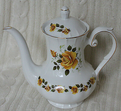 Vintage Ridgway Ironstone Golden Rose Coffee Pot Yellow Floral Teapot 22ct Gold