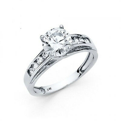 2.5 CTW Round Brilliant Cut Engagement Wedding Ring Trellis Real 14K White Gold