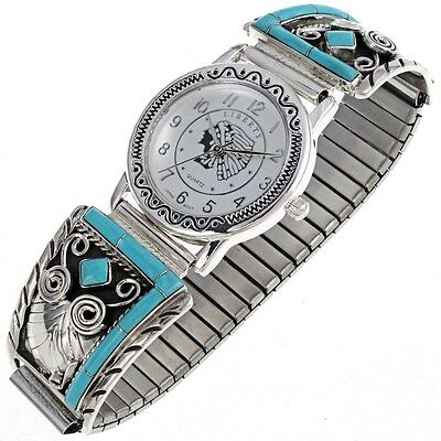 Native American Silver Watch Mens Inlaid Turquoise Tips