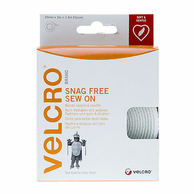 VELCRO® Brand Snag Free Sew On Stitch On Tape 20CM wide x 3M in White