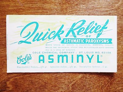 1960s Cole's Chemical Company Asminyl Advertising Blotter St. Louis Missouri MO