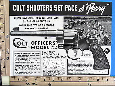 1938 COLT 38 cal OFFICERS' MODEL TARGET Heavy Barrel revolver Magazine Ad 7874