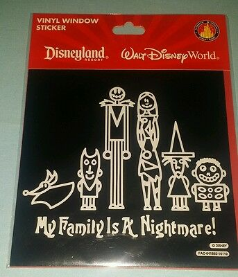 My Family is a Nightmare Jack Skellington Car Window Sticker Decal Disney Parks
