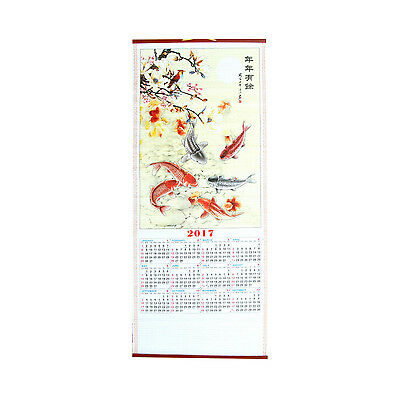 2017 Chinese Wall Scroll Calendar with Picture of 9 Fishes for Year of Rooster