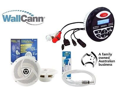 "Marine Waterproof Audio Kit MP3/USB/AM/FM/Ipod Bluetooth 2x 6.5"" Speakers + Ant"