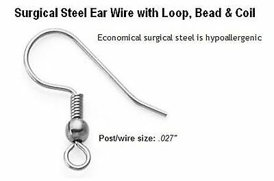 20 surgical stainless steel ear hooks earring findings hypoallergenic - ushes