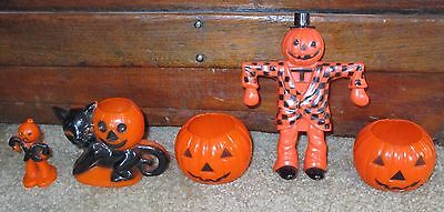 Rare Vtg Halloween Hard Plastic Candy Container Lot 5 Jol Black Cat Scarecrow
