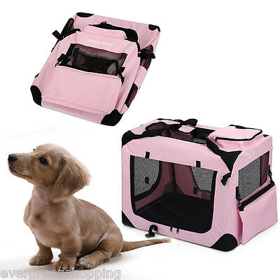 Foldable Pet Dog Rabbit Puppy Travel Carrier Bag Kennel Crate Cage Fabric Pink S