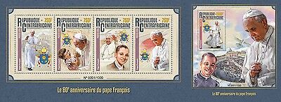 Z08 Imperforated CA16114ab CENTRAL AFRICA 2016 Pope Francis MNH Set
