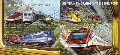 Z08 IMPERFORATED CA15620ab CENTRAL AFRICA 2015 High speed trains MNH Set