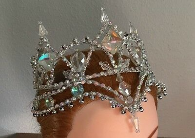 Professional Ballet Snow Ice Queen Silver Fairy AB Crystal Tiara Headpiece Crown
