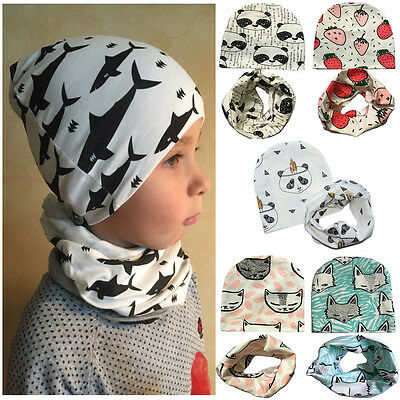 2Pcs Baby Infant Hat Girl Boy kids Autumn Winter Cap + Cotton Scarf Collar Set