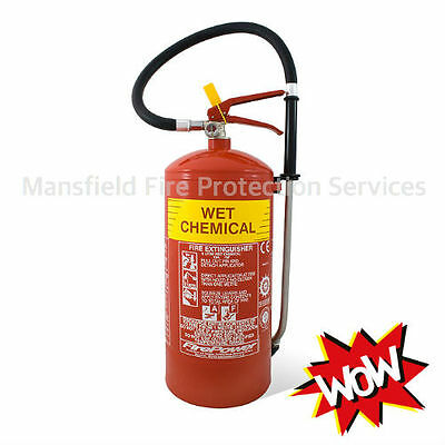 New Wet Chemical Fire Extinguisher 6 Litre with Bracket. 6ltr FREE SHIPPING