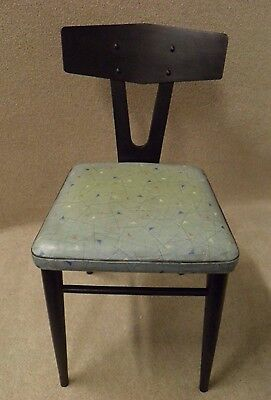 Vintage 50's black painted side chair with original vinyl cover