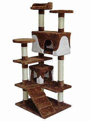 FoxHunter Kitten Cat Tree Scratching Post Sisal Toy Activity Centre Brown CAT005