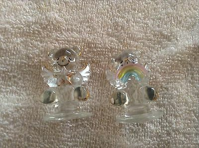 Pair of small glass angel figurines