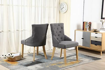 FoxHunter New Grey Linen Fabric Dining Chairs Scoop Button Back Office DCF03 x2