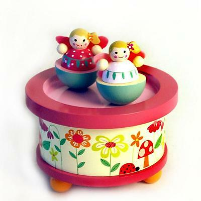 NEW Wooden Wind Up Music Box - Fairies Design - Musical Nursery Decor - RED