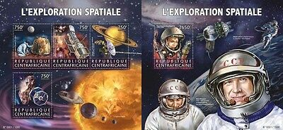 Z08 IMPERFORATED CA15622ab CENTRAL AFRICA 2015 Space Cosmos Gagarin MNH Set