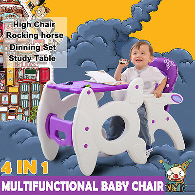 4in1 Adjustable Baby Kids High Chair Dinning Set Rocking Horse Study Table Feed