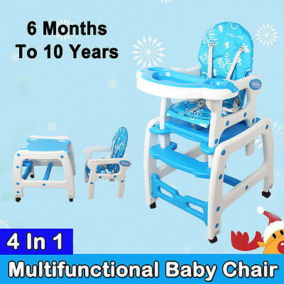 4 IN1 Adjustable Kid High Chair Dinning Set Rocking Horse Study Table Feed Baby