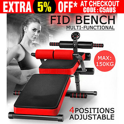 Adjustable Weight FID Bench Home Gym Exercise Fitness Situp Dumbbell Push-up AU