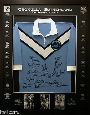 Blazed in Glory - Cronulla Sutherland Sharks - NRL Signed & Framed Jersey