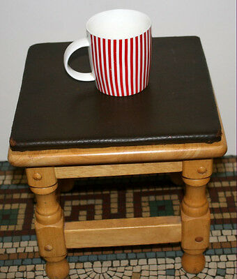 Vintage Wooden Stool Small 11In Turned Wood Legs Leather Top Small Age Wear