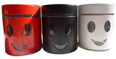 3Pc Canister Set Steel Glass Coffee Tea Sugar Jar Lid Canisters Storage New