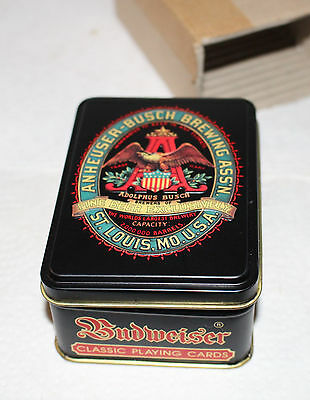 Anheuser Busch Playing Cards In Tin Sealed Unused 2 Decks