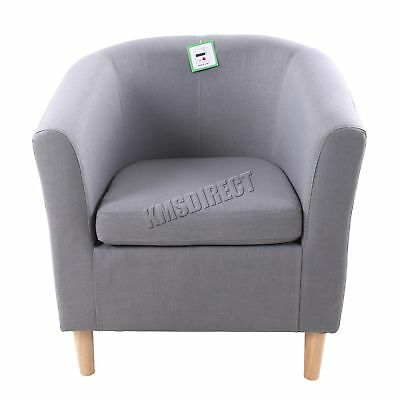 FoxHunter Linen Fabric Tub Chair Armchair Dining Living Room Lounge TC03 Grey