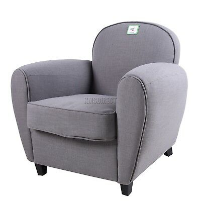 FoxHunter Linen Fabric Tub Chair Armchair 2094 Sofa Dining Living Room Grey New