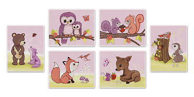 Set of Four Lavender Woods, Woodland Forest Animal prints, nursery baby wall art