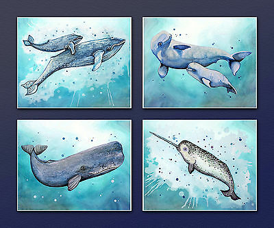 Whale Wall Art Prints. Ocean Animals, Shark, Nautical, Nursery. Boys/Kids decor