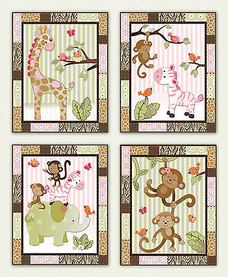 Monkey Jill Jungle animal Nursery/Baby Wall Art/decor/prints Pink.Green.Elephant