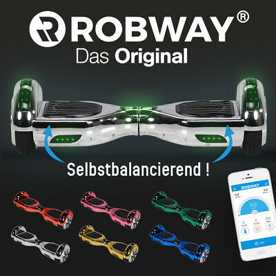 Hoverboard ROBWAY W1 Scooter Elektro Roller Self E Balance Hover Board Chrom
