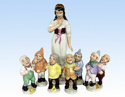 Royal Dux Porcelain Figurines Snow White And The Seven Dwarfs