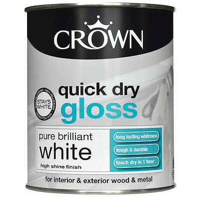 Crown Quick Dry Gloss Pure White Water Based Interior Exterior Wood 750ML