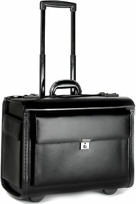 Large Leather Pilot Case Wheeled Laptop Trolley Flight Briefcase Bag Hand Luggag