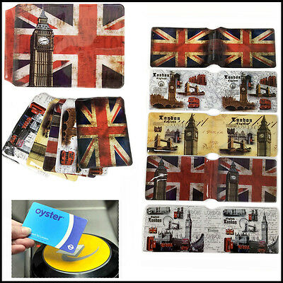Union Jack Oyster Card Holder Travel Rail Pass Card Cover London Icon Soveniers