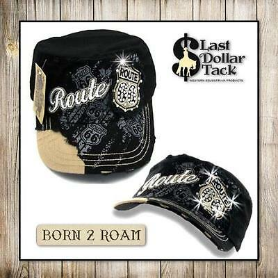 Military Style Cadet Cap~Embroidered 'route 66' Appliqué & Crystal Design ~Black