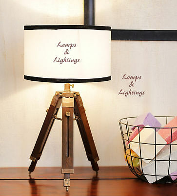 Pottery Barn Wood Nautical Tripod Desk Lamp Lighting Vintage Home Wedding Decor