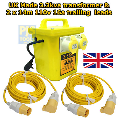 3.3KVA 110v transformer 16a twin sockets with 2 x 14M extension leads