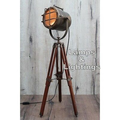 Retro Design Vintage style Spotlight searchlight Telescopic Tripod Floor Light