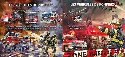 Z08 IMPERFORATED CA15621ab CENTRAL AFRICA 2015 Fire engines MNH Set
